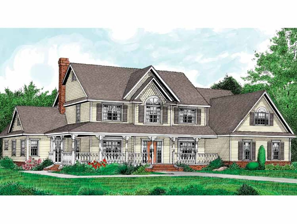 Country style house plan 4 beds 2 5 baths 3005 sq ft for Stonegate farmhouse plans