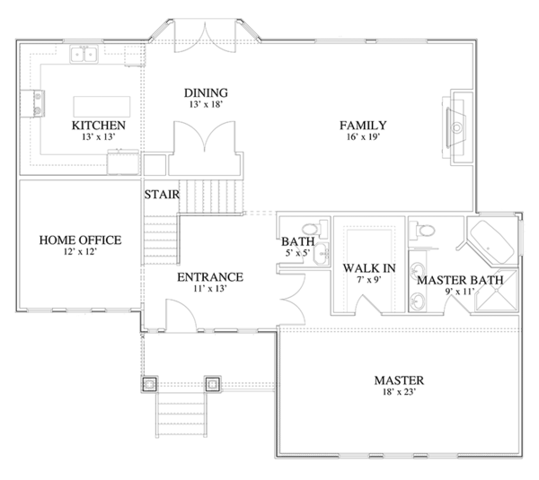 Traditional Floor Plan - Main Floor Plan Plan #1060-19