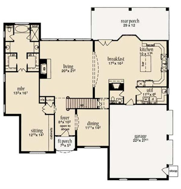 European Floor Plan - Main Floor Plan Plan #36-472
