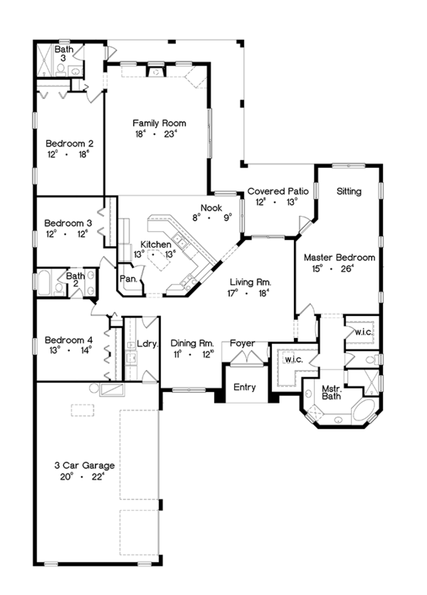 Mediterranean Floor Plan - Main Floor Plan Plan #417-810