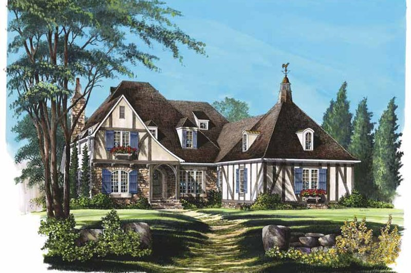 Tudor Exterior - Front Elevation Plan #137-310 - Houseplans.com