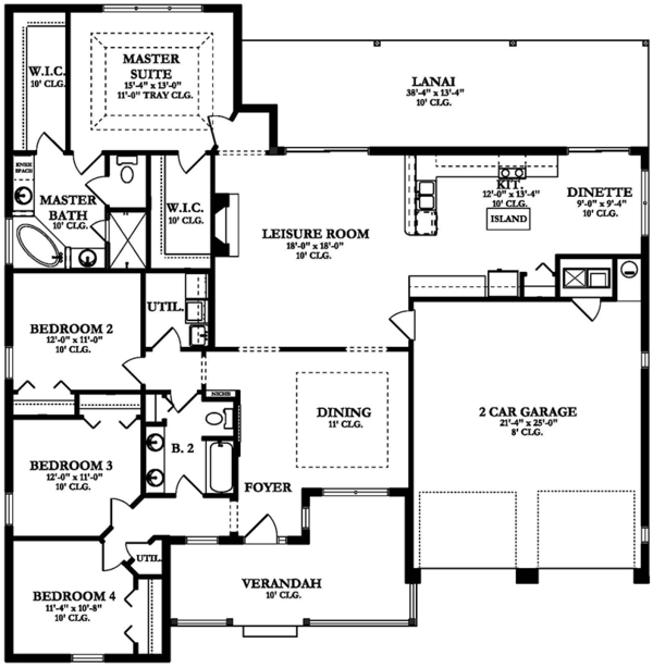 Ranch Floor Plan - Main Floor Plan Plan #1058-146