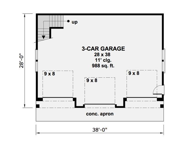 Craftsman Style House Plan - 1 Beds 1 Baths 938 Sq/Ft Plan #51-582 Floor Plan - Main Floor Plan