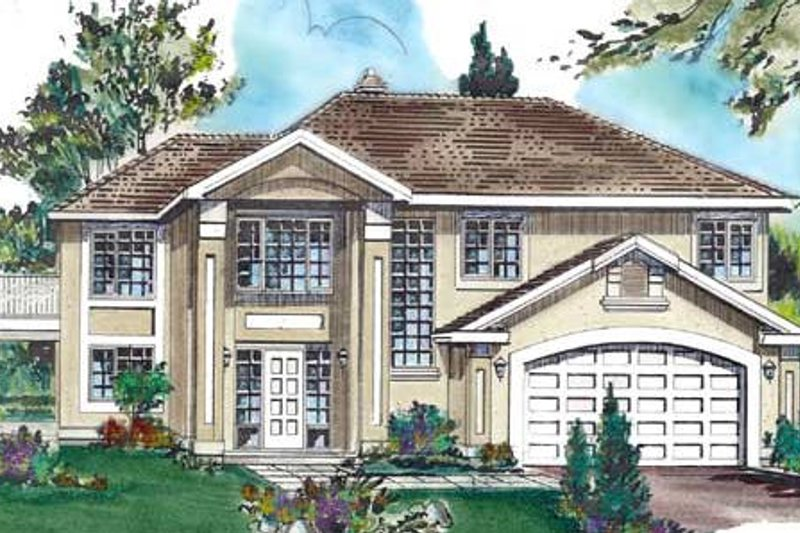 House Blueprint - European Exterior - Front Elevation Plan #18-223