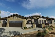 Adobe / Southwestern Style House Plan - 3 Beds 3 Baths 2982 Sq/Ft Plan #1069-16 Exterior - Front Elevation