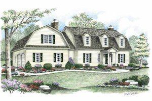 Colonial Exterior - Front Elevation Plan #1002-6