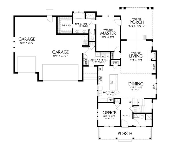 Farmhouse Floor Plan - Main Floor Plan #48-995