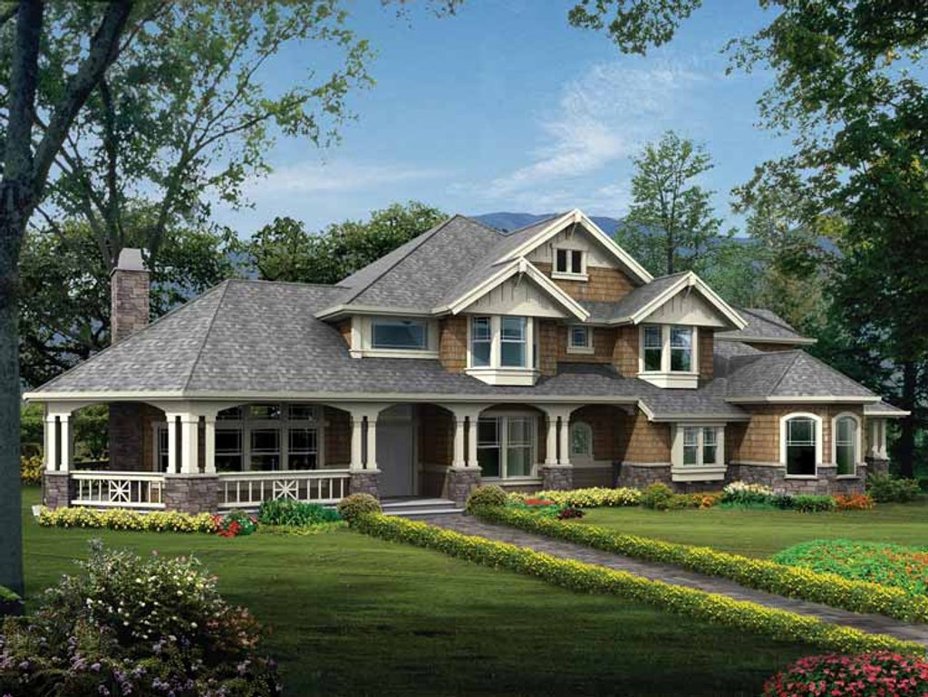Craftsman style house plan 4 beds 3 5 baths 4220 sq ft for Craftsman vs mission style