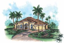 Home Plan - Mediterranean Exterior - Front Elevation Plan #1017-119
