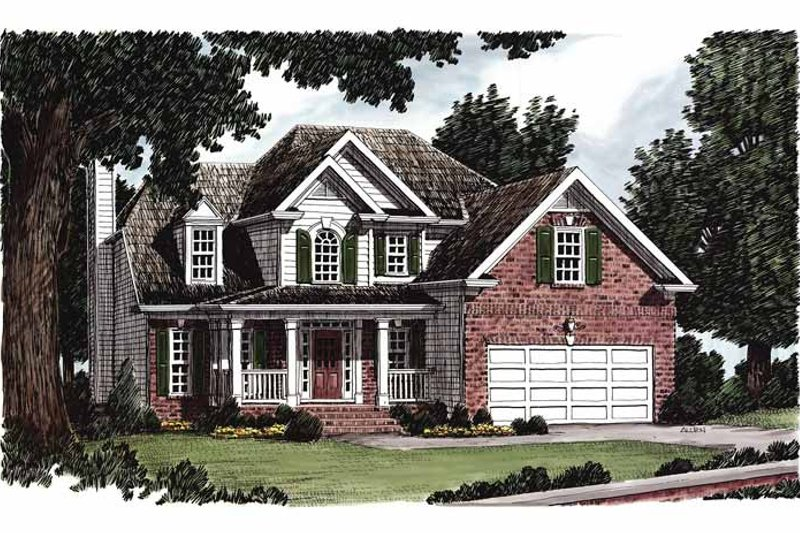 Country Exterior - Front Elevation Plan #927-385