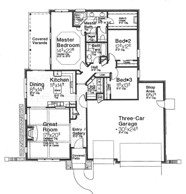 European Floor Plan - Main Floor Plan Plan #310-1261