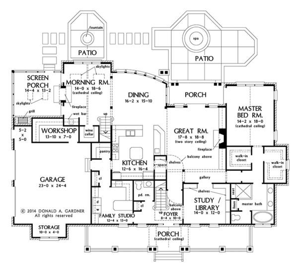 Farmhouse Floor Plan - Main Floor Plan Plan #929-1000