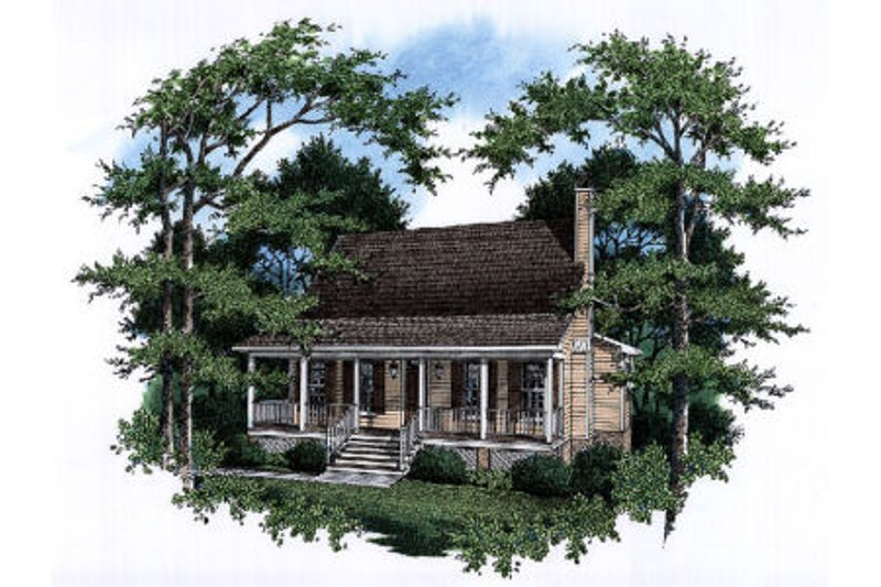 Country Style House Plan - 3 Beds 2.5 Baths 1735 Sq/Ft Plan #41-171 Exterior - Front Elevation