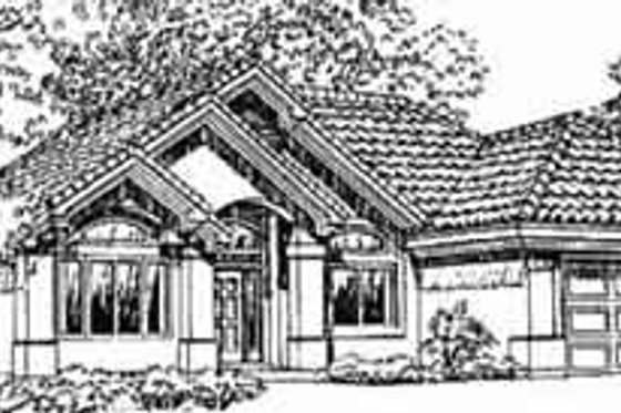 Adobe / Southwestern Exterior - Front Elevation Plan #1-315