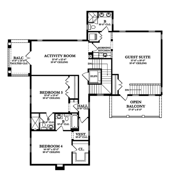 Mediterranean Floor Plan - Upper Floor Plan Plan #1058-85