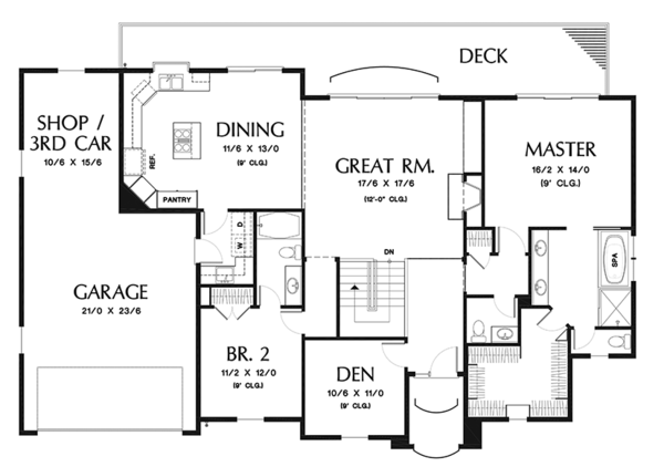 Traditional Floor Plan - Main Floor Plan Plan #48-915