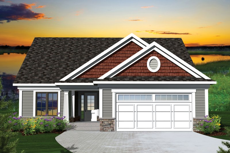 Ranch Style House Plan - 2 Beds 2 Baths 1459 Sq/Ft Plan #70-1041 Exterior - Front Elevation