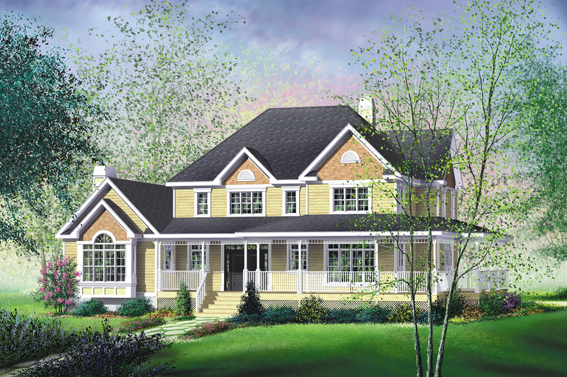 Country Style House Plan - 4 Beds 2.5 Baths 3475 Sq/Ft Plan #25-2013 Exterior - Front Elevation