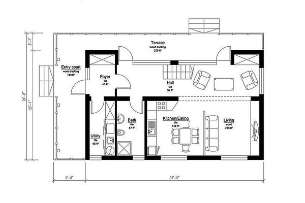 Modern Style House Plan - 3 Beds 2 Baths 1291 Sq/Ft Plan #549-2 Floor Plan - Main Floor Plan