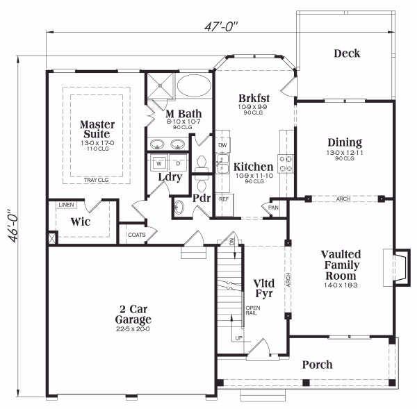 Country Floor Plan - Main Floor Plan Plan #419-121