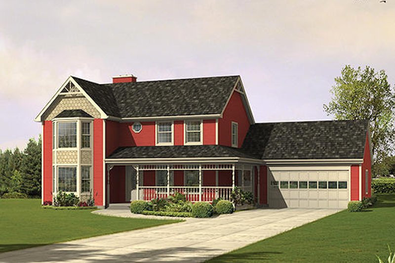 Victorian Style House Plan - 4 Beds 2.5 Baths 2554 Sq/Ft Plan #57-540 Exterior - Front Elevation
