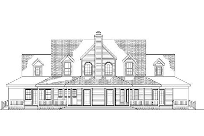 Country Exterior - Rear Elevation Plan #72-155 - Houseplans.com