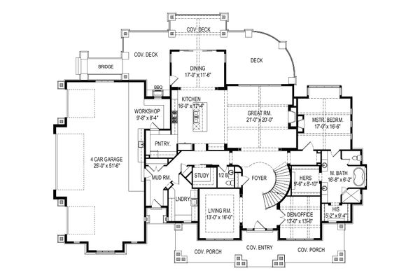 Craftsman Floor Plan - Main Floor Plan Plan #920-111