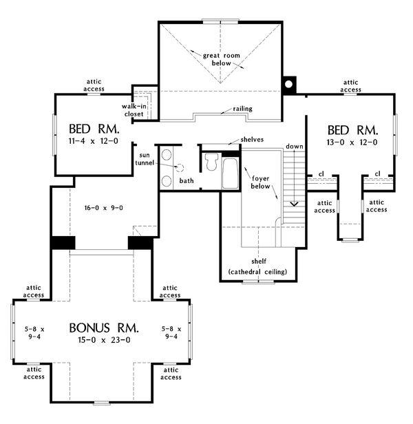 European Floor Plan - Upper Floor Plan Plan #929-1033