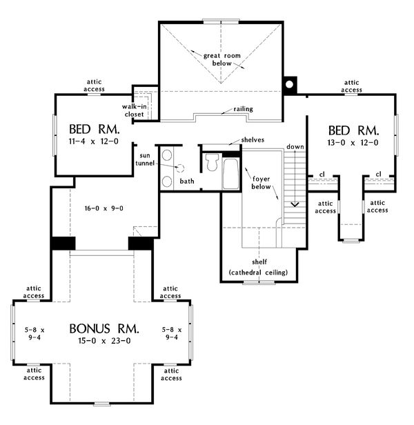 European Floor Plan - Upper Floor Plan Plan #929-1033