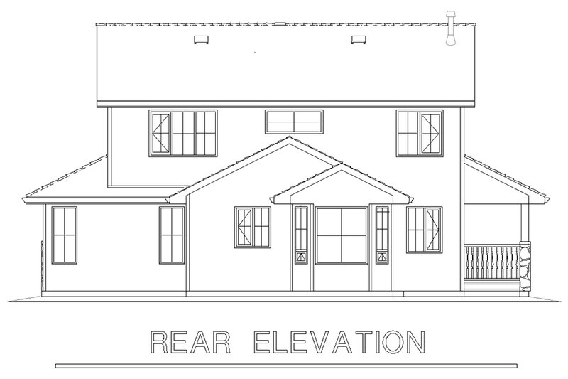 Traditional Exterior - Rear Elevation Plan #18-285 - Houseplans.com