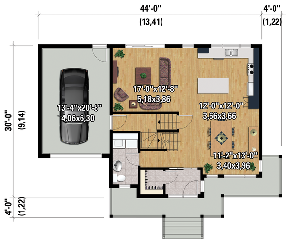 Contemporary Floor Plan - Main Floor Plan Plan #25-4373