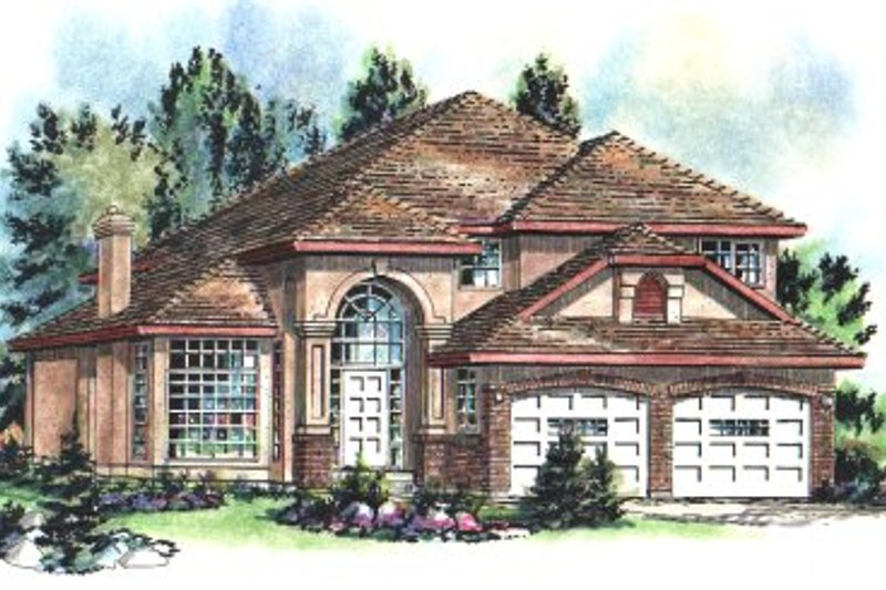 European Exterior - Front Elevation Plan #18-236