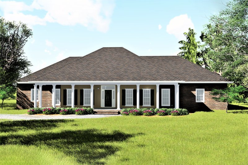 Southern Style House Plan - 4 Beds 2.5 Baths 2614 Sq/Ft Plan #44-126 Exterior - Front Elevation