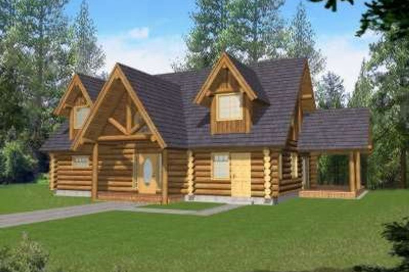 Log Exterior - Front Elevation Plan #117-497