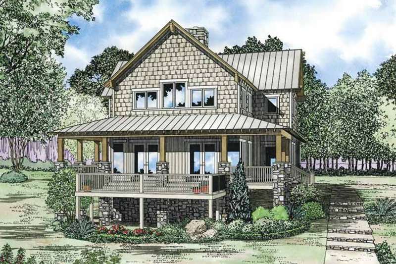 Country Exterior - Front Elevation Plan #17-3305