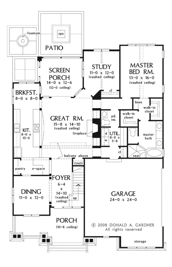 Craftsman Floor Plan - Main Floor Plan Plan #929-917