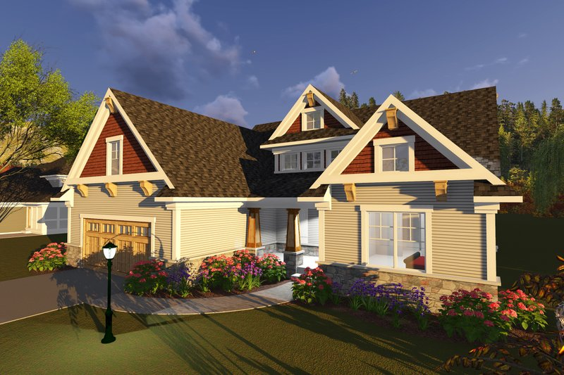 Dream House Plan - Craftsman Exterior - Front Elevation Plan #70-1251