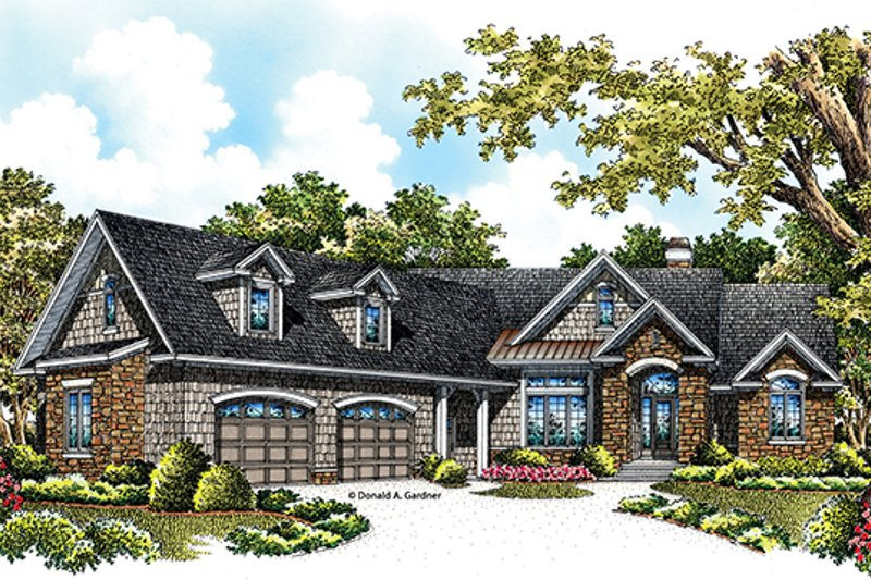 European Exterior - Front Elevation Plan #929-966