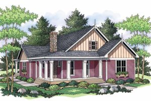Architectural House Design - Country Exterior - Front Elevation Plan #51-691