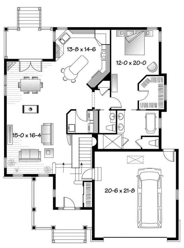 Country Floor Plan - Main Floor Plan Plan #23-2573