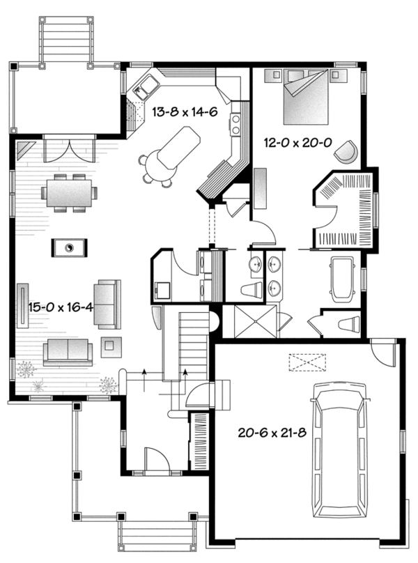 Home Plan - Country Floor Plan - Main Floor Plan #23-2573