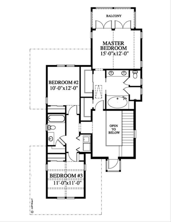 Beach Floor Plan - Upper Floor Plan Plan #426-12