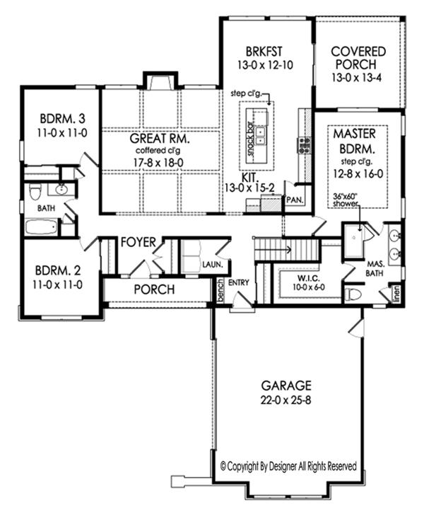 Ranch Floor Plan - Main Floor Plan Plan #1010-200