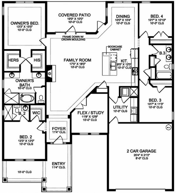 Colonial Floor Plan - Main Floor Plan Plan #1058-122