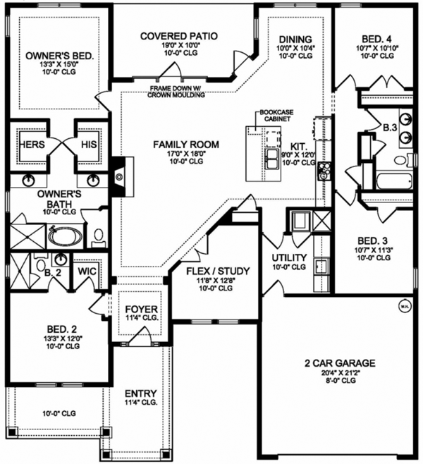 Colonial Floor Plan - Main Floor Plan Plan #1058-122