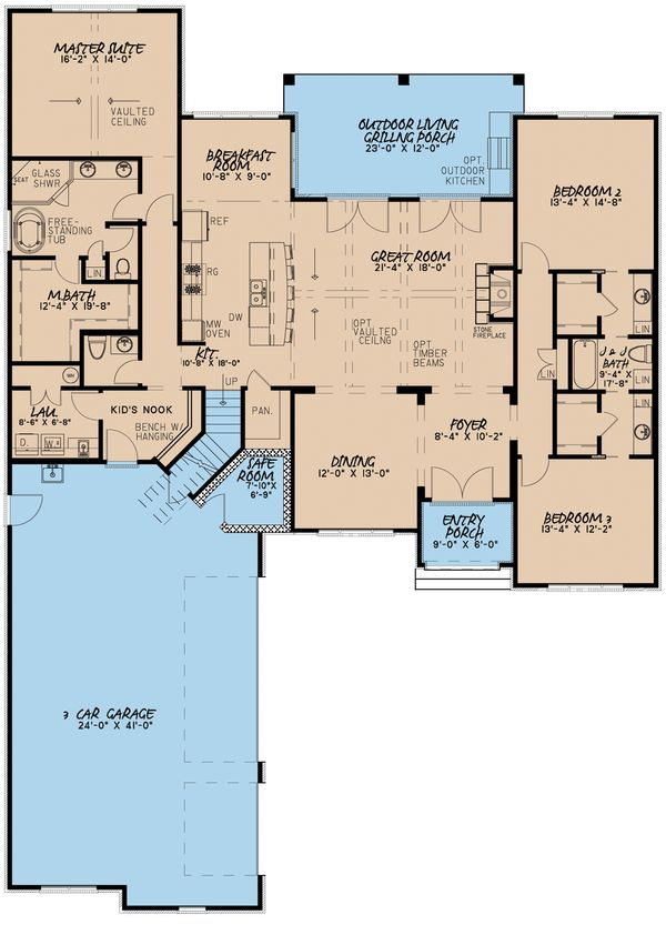 European Floor Plan - Main Floor Plan Plan #923-8