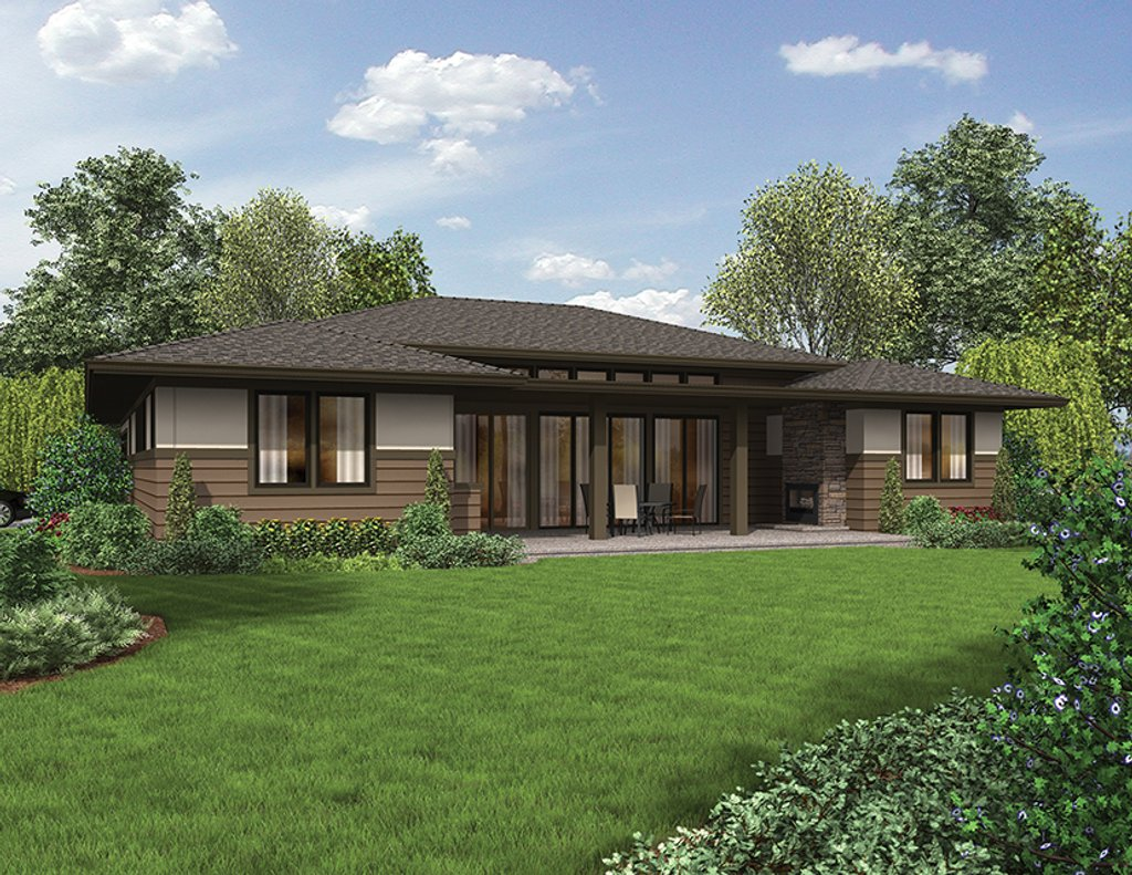Contemporary style house plan 3 beds 2 baths 2136 sq ft for Modern rambler house plans