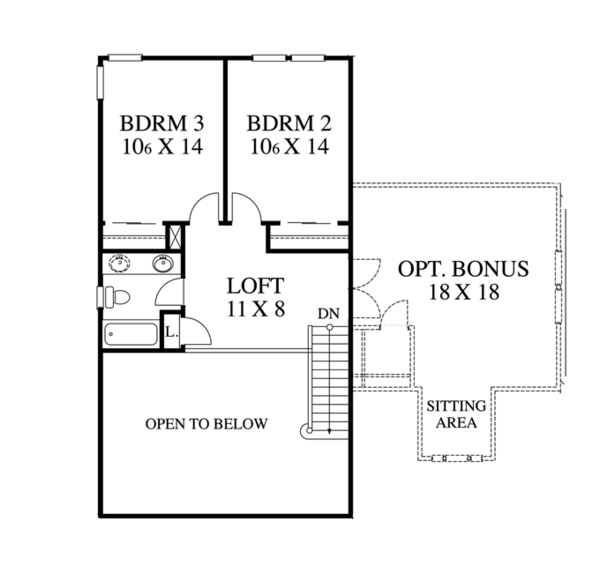 Traditional Floor Plan - Upper Floor Plan Plan #1053-41