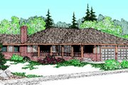 Ranch Style House Plan - 3 Beds 2 Baths 1733 Sq/Ft Plan #60-172 Exterior - Front Elevation