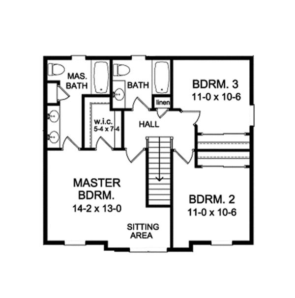 Craftsman Floor Plan - Upper Floor Plan Plan #1010-114